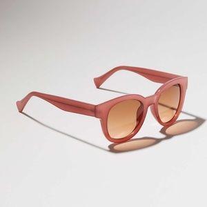 LOFT Pink Rose Iridescent Round Sunglasses